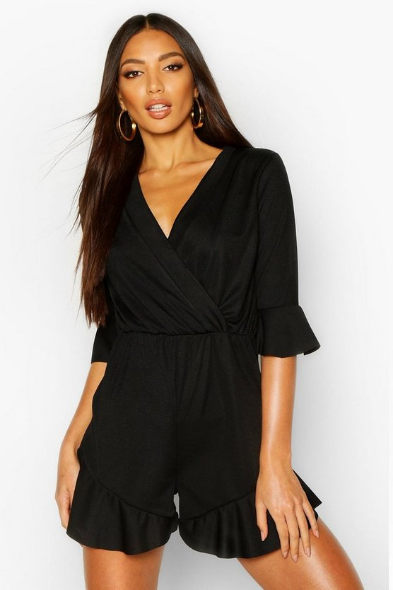 Womens Black Plain Ruffle Hem Wrap Jersey Playsuit