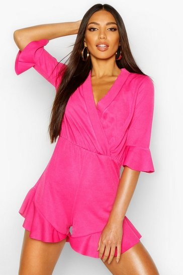 Womens Magenta Plain Ruffle Hem Wrap Jersey Playsuit