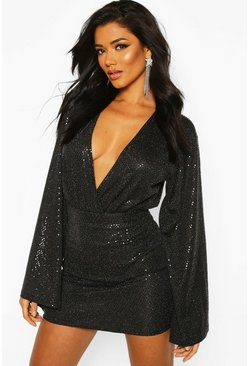 Dam Black Sparkle Mini Skirt