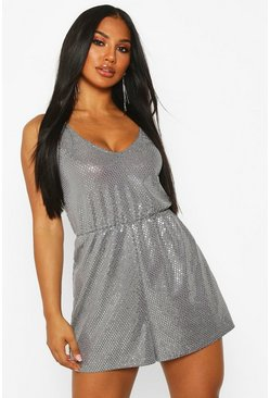 Womens Silver Sparkle Swing Playsuit