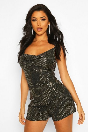 Womens Gold Sparkle Cowl Neck Cami Playsuit