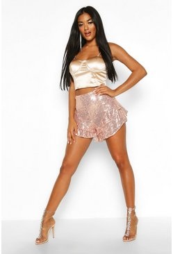 Womens Rose gold Sequin Ruffle Hem Shorts