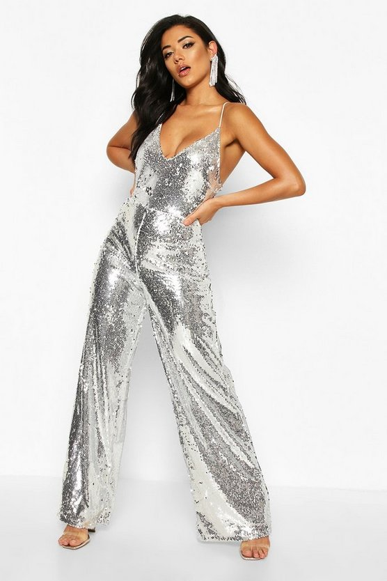 Silver Plunge Front Low Back Cami Sequin Jumpsuit