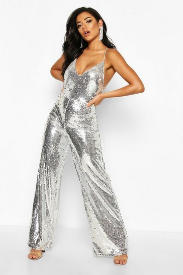 Womens Silver Plunge Front Low Back Cami Sequin Jumpsuit