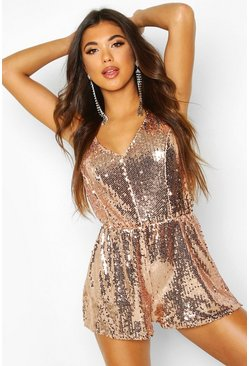Womens Rose gold Sequin Cami Swing Playsuits