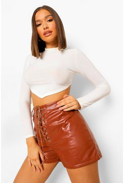 Tan Lace Up Front Leather Look Shorts