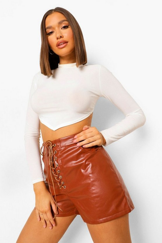 Lace Up Front Leather Look Shorts