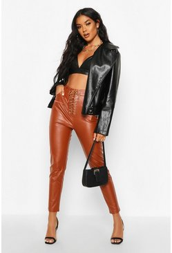Tan Lace Up Front Leather Look Trousers