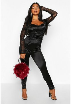 Womens Black Satin Bustier Lace Sleeve Jumpsuit