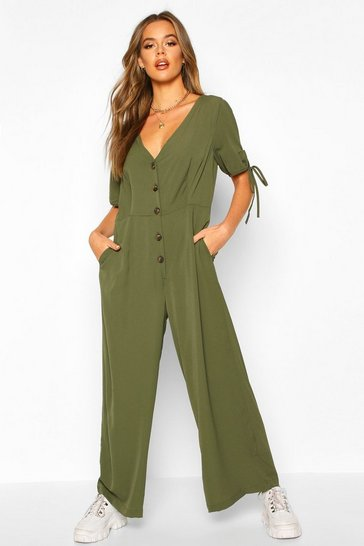 Womens Khaki Woven Tie Sleeve Button Through Jumpsuit