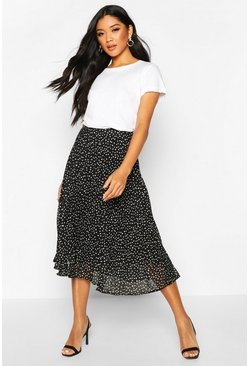 Black Woven Polka Dot Print Midi Skirt