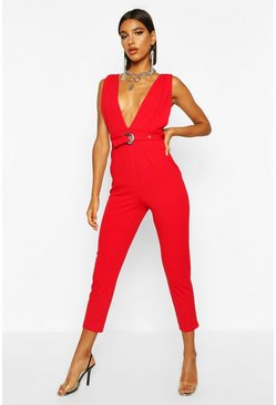 Womens Red Western Buckle Plunge Pinafore Jumpsuit