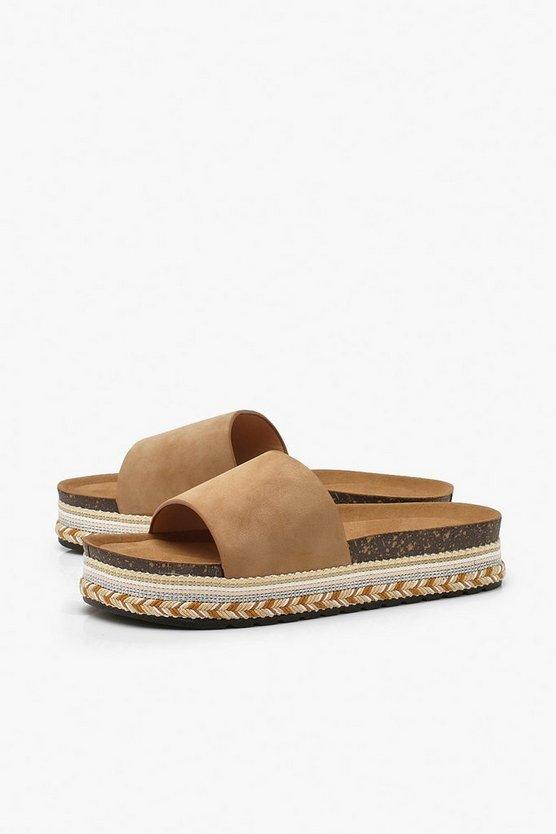 Footbed Espadrille Sliders
