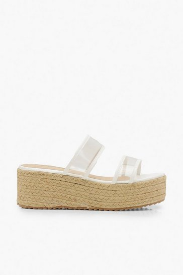 Womens White Clear Double Strap Espadrille Flatforms