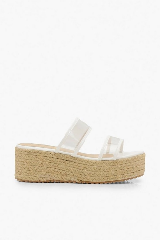 Clear Double Strap Espadrille Flatforms by Boohoo