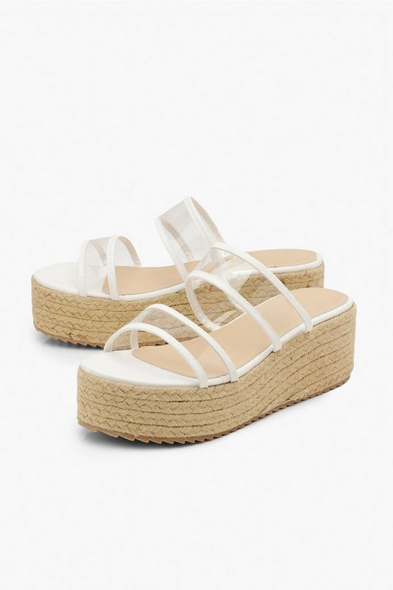 Clear Double Strap Espadrille Flatforms