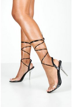 Womens Black Clear Heel Wrap 2 Parts