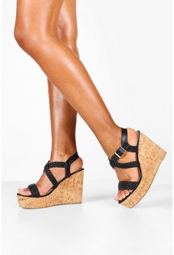 Black Plait Strap Cork Wedges