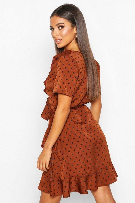 Ruffle Wrap Polka Dot Tea Dress