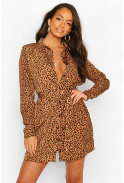Tan Shirt Dress Animal Print