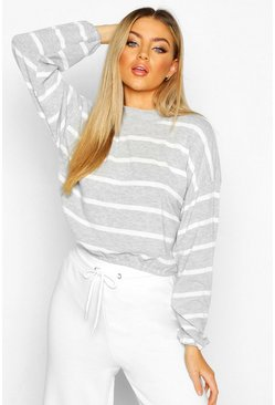 Womens Grey High Neck Brushed Soft Stripy Sweat