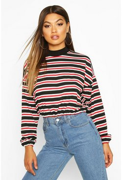 Womens Red High Neck Striped Long Sleeve Top
