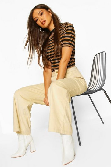 Womens Mustard Ribbed Stripe Ringer T-Shirt