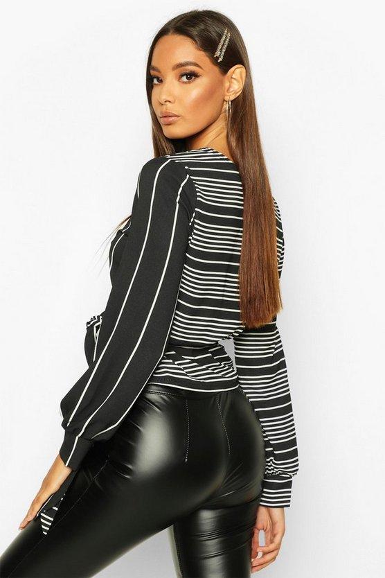 Stripe Wrap Contrast Blouse
