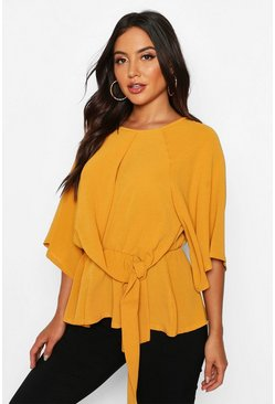 Mustard Tie Front Angel Sleeve Blouse