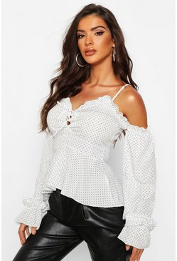 Womens White Polka Dot Lace Up Peplum Top
