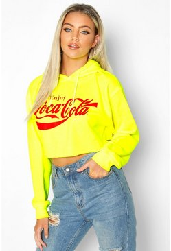 Neon-green Coca Cola Licensed Neon Crop Hoodie