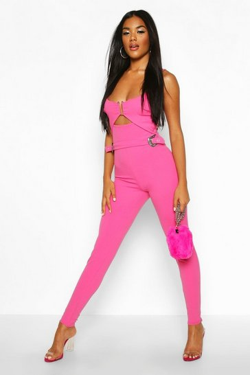 Womens Hot pink Western Buckle Cut Out Jumpsuit