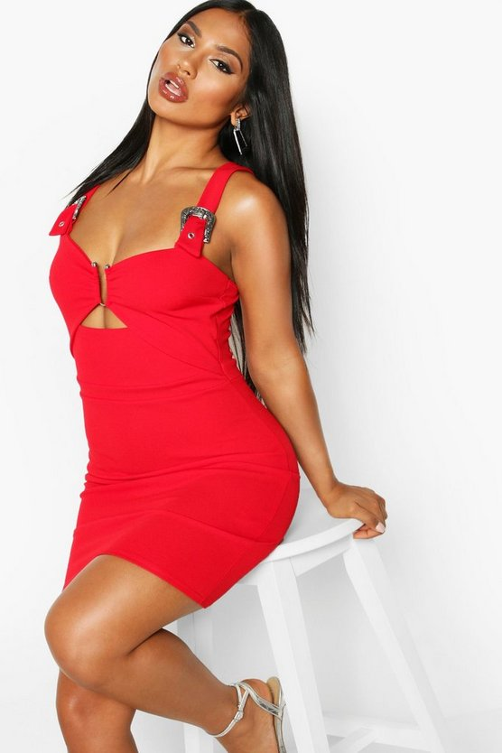 Red Western Buckle Cut Out Midi Dress