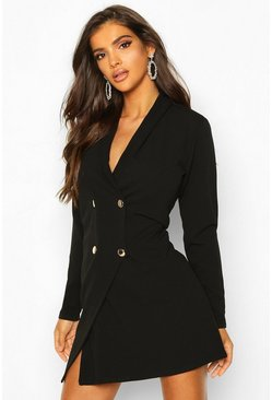 Black Tailored Wrap Blazer Dress