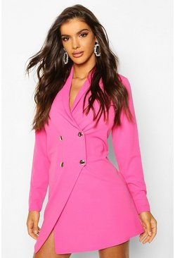 Pink Tailored Wrap Blazer Dress