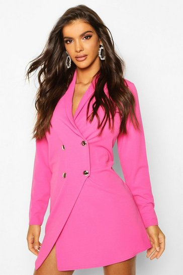 Womens Pink Tailored Wrap Blazer Dress