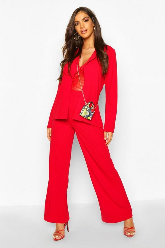 Womens Red Tailored Blazer Suit Co-ord