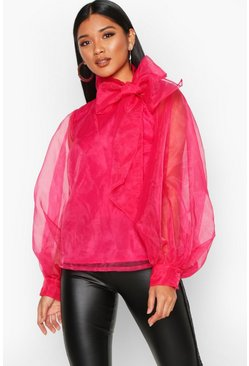 Hot pink Organza Blouson Sleeve Pussybow Blouse