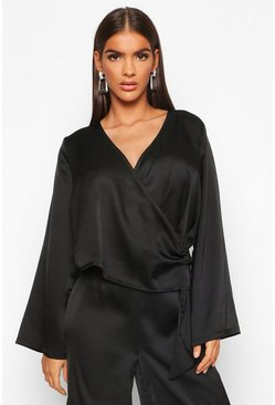 Womens Black Satin Wrap Flared Sleeve Blouse