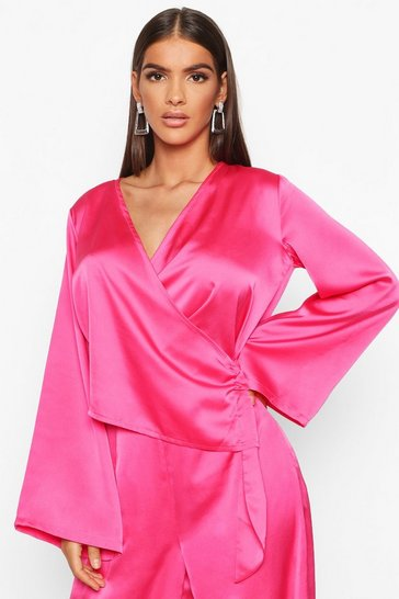 Womens Pink Satin Wrap Flared Sleeve Blouse