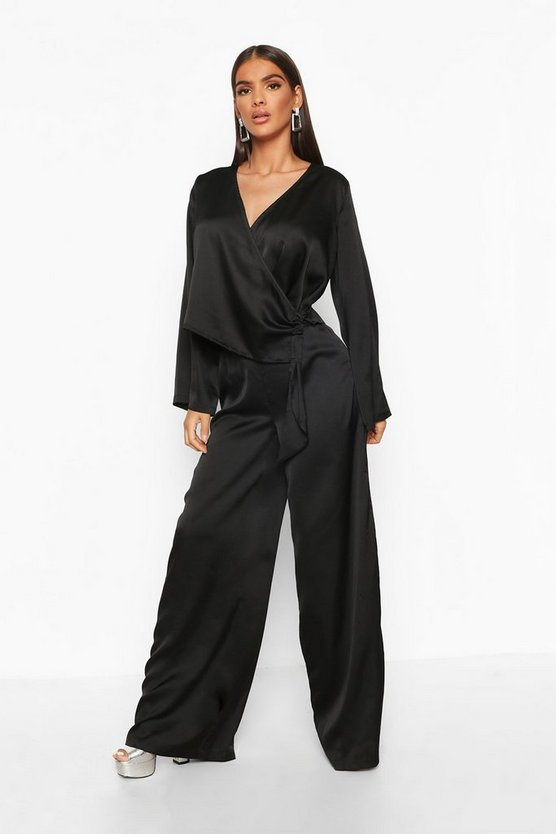 Womens Black Satin Wide Leg Trouser
