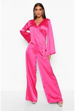 Womens Pink Satin Wide Leg Trouser