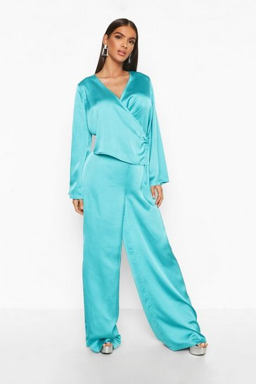 Womens Turquoise Satin Wide Leg Trouser