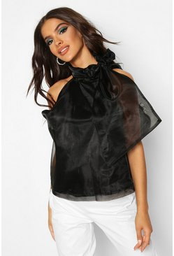 Womens Black Organza Pussybow Sleeveless Blouse