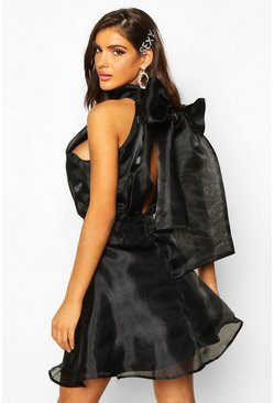 Womens Black High Neck Organza Tie Back Skater Dress