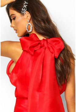 Womens Red High Neck Organza Tie Back Skater Dress