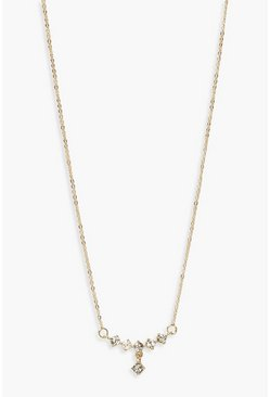 Womens Gold Diamante Bar Drop Pendant