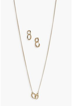Womens Gold Double Chain Earring And Necklace Set