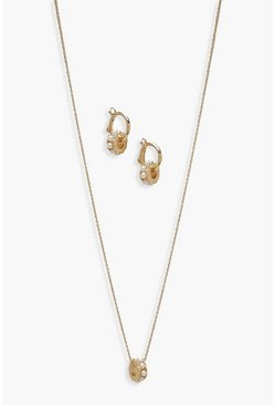 Womens Gold Pearl Pendant And Hoop Jewellery Set