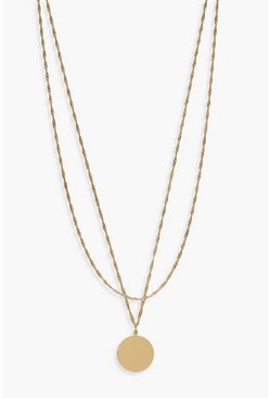 Gold Twist Chain And Coin Layered Necklace